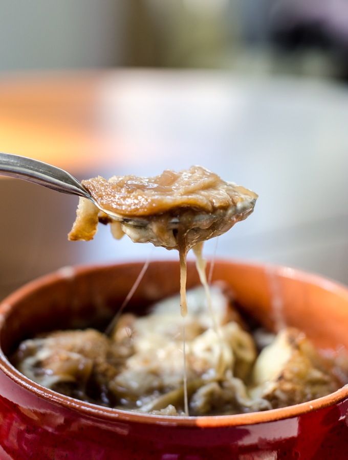 Slow Cooker French Onion Soup The best soup just got easier to make with this no-fuss crock pot recipe! Tender onions in a flavorful broth and a little cheese on top too!
