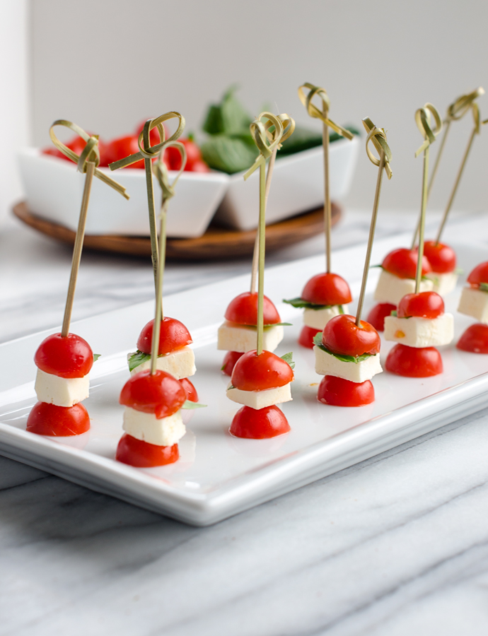 Tomato, Mozzarella and Basil Skewers - Chic & Sugar