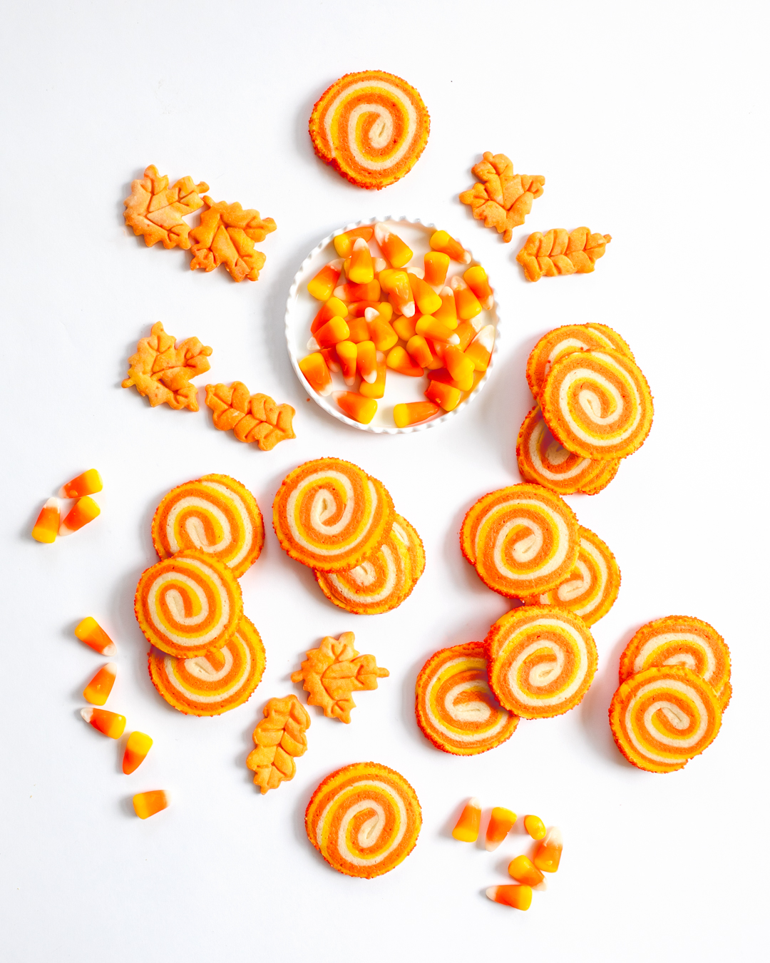 Candy Corn Pinwheel Cookies Chic And Sugar
